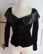 Gunne Sax Jessica McClintock Crushed Black Velvet Jacket Blazer Womens 7 Formal