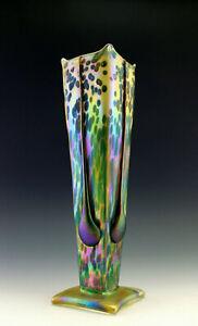 Glamorous Art Nouveau Favrile Glass Iridescent Bohemian Vase Tall 13 1/2''