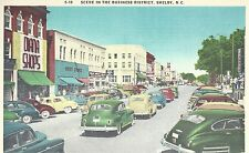 Scene In The Business District    Shelby  NC   Unused Linen Postcard 10174