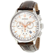 Movado Circa Chronograph White Dial Brown Leather Strap Mens Watch 0606576