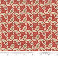Moda Fabric Snowfall Prints Paisley Poinsettia Red - per 1/4 Metre