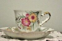 Ucagco Occupied Japan Demitasse Footed Cup/Saucer Pink/Yellow Floral Gold Trim