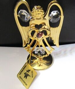 Figurine ANGEL on stand- red heart- 24k gold plated- Austrian crystals- clear