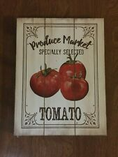 "Tomato Wood Sign Plaque Produce Market Specially Selected Arauco 6-1/2"" x 8-1/2"""