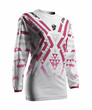 Thor Race MX Motocross Women's Jersey S7W Pulse Facet White/Magenta Medium