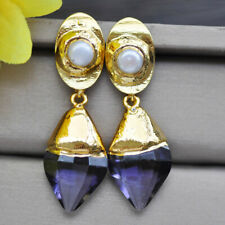 & Pearl gold-plating Dangle Earring Z10307 23mm Incise Faceted Amethyst