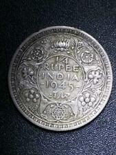 1945 B 1/4 Quarter Rupee India British - LARGE 5 - Bombay Mint Silver Circulated