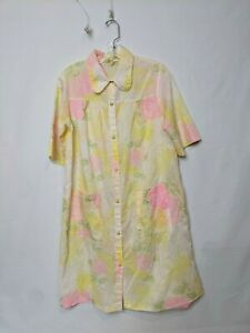 Vintage Sears The Comfort Coat Women's Large Snap Up Robe Nightgown Floral EUC