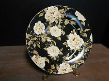 Luncheon Plate Floral On Black Sanderson Peony Tree Midnight Blue Queens
