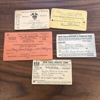 LOT OF CARDS -  MARYLAND - MD - 1930s - Drivers License - Pageant - Christian