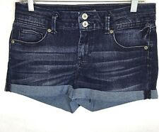 CANDIE'S Denim Shorts Size 9 Cuffed Dark Wash Stretch #463