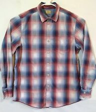 Tommy Bahama Jeans Mens Long Sleeve Plaid Casual Dress Shirt Size M Blue and Red
