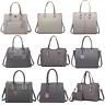 Women Designer PU Leather Handbag Structured Tote Shoulder Bag Grey