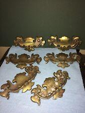 Vintage  Antique Brass Hardware Drop Handle Drawer Pulls.6Total