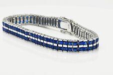 """Sterling Silver Double Row Princess Cut Lab Blue Sapphire Tennis 7.25"""" Bracelet"""