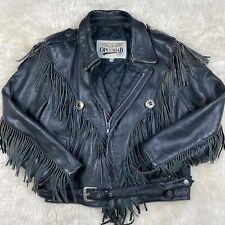 Vintage Open Road Black Leather Jacket with Fringe Men's Size 42 Real Leather