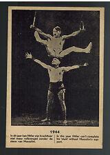 1944 Mint Holland Anti Nazi Propaganda postcard WW2 Hitler Mussolini Acrobats