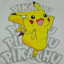 Pikachu Soft TShirt Mighty Fine 2012 Pokemon Large Junior White
