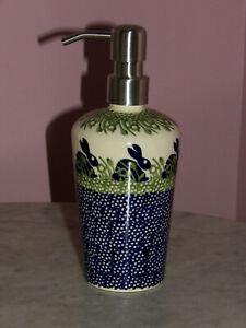 Polish Pottery Lotion Soap Dispenser! Bunny Pattern!