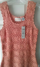 Cache Coral Crochet Flower Top with Glitter Threading - Size Small