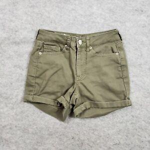 Aeropostale Shorts Juniors 000 Denim Green Pockets Cuffed Cotton Mini Ladies