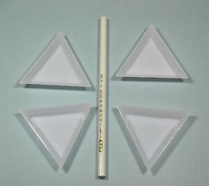 Triangle Plastic Display Trays for Rhinestone & Beads 73x73x10mm + Picker Pencil