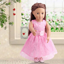 Handmade Doll Pink Princess Dress Clothes For 18inch Doll Toy Party Clothes Wear