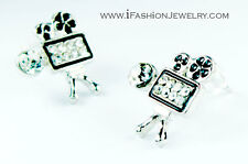 Bling Silver Tone Black VDO Film Movie Camera HOLLYWOOD EARRINGS Jewelry Gift