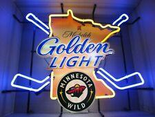 New Nhl Minnesota Michelob Golden Light Hockey beer Neon sign Bar Sports Rare