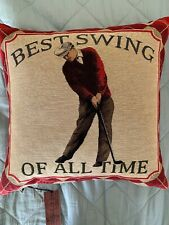 HINES Of Oxford Golf/Golfer Throw Pillow Fine Tapestry ENGLAND Best Swing Of All