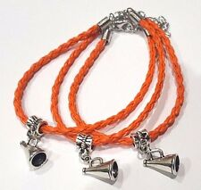 Lot of 3 Leather braided bracelet with Megaphone Charm / Cheerleader Cheer