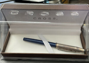 Cross Rolling Ball Pen, Stylo Roller, Sterling Silver/Tran Blue Lacquer, New, b2