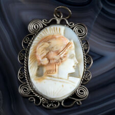 Wire Soldier Pendant Vtg Estate Jewelry Antique Hand Carved Stone Cameo Filigree