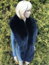 King Size 'Blue Fox' Fur Stole 78' (200cm) Saga Furs Jet Black Collar