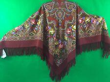 Châle 125x125 cm 100% laine, franges de laine authentique PAVLOV POSSAD RUSSIE