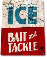 Ice Bait Tackle Fish Fishing Marina Shack Rustic Fishing Tin Metal Decor Sign