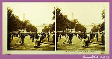 VUE STÉRÉO SUR VERRE : NANCY, PLACE CARNOT, COURSE D'AUTOMOBILES, 1900 -Réf23