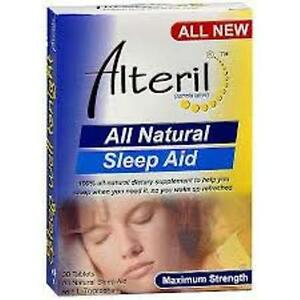 Alteril Sleep Aid with L-Tryptophan - Max Strength Tabs 30 ct + Makeup Sponge
