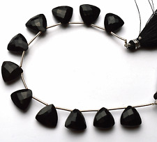 """Best BLACK Chalcedony Faceted Trillion SHAPE Briolettes Beads 11 - 12 MM  6"""""""