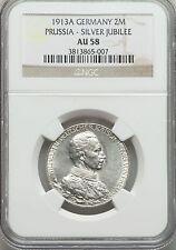 1913 Prussia(Germany)Silver 2 mark Kaizer Willhelm-military uniform-NGC AU 58