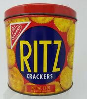 1977 Vintage Nabisco Ritz Cracker 13 oz. Round Advertising Tin Canister