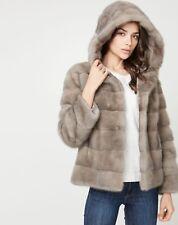 Manteau blouson couleur taupe, fourrure vison d'élevage, sur commande