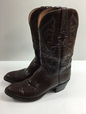 Men's Lucchese Western Boots Shoes Size 8.5 D Lizard chestnut brown