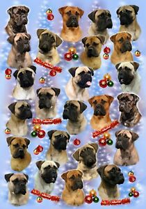 Bullmastiff Dog Christmas Gift Wrapping Paper - by Starprint