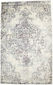 Distressed Brown & Cream Floral 5X8 Muted Hand-Loomed Modern Rug Wool Carpet