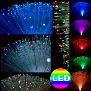 Glasfaser Lampe LED RGB mit Farbwechsel Lichtfaser Dekoleuchte Fiberglas bunt
