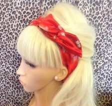 NEW RED BUTTERFLY PRINT SATIN BENDY WIRE HAIR SCARF HEADBAND 50S VINTAGE GLAMOUR