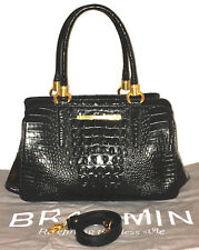 BRAHMIN  BLACK GLOSSY CROC MELBOURNE CHELSEA SATCHEL SHOULDER BAG NEW $425