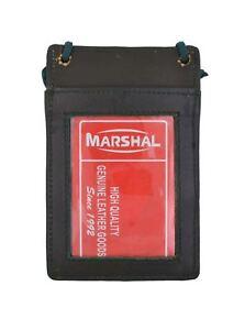 Genuine Leather ID Badge Holder Neck Strap Travel Lanyard Cross Body Bag Wallet