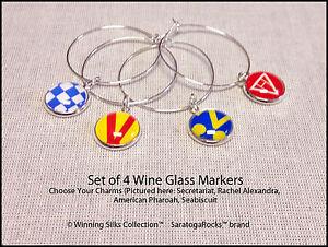Saratoga Race Track - Winning Silks Collection™ Set of 4 Wine Glass Markers